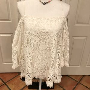Bailey 44 cream lace off shoulder blouse